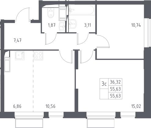 3Е-к.кв, 55.63 м²