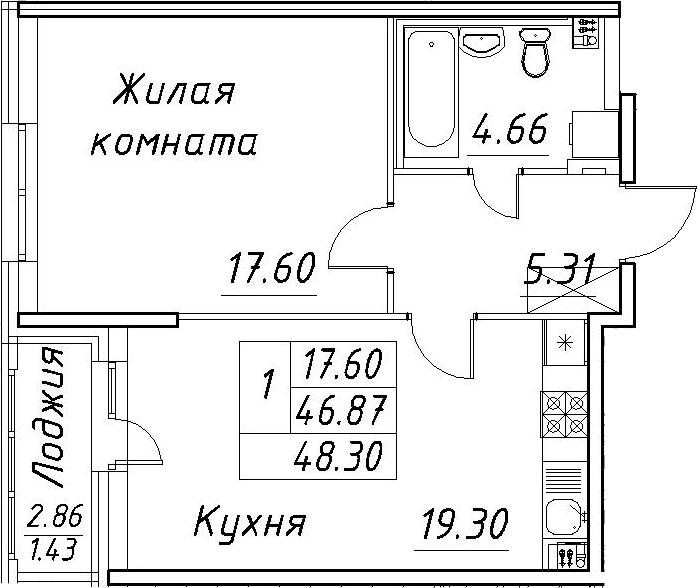 2-к.кв (евро), 49.73 м²