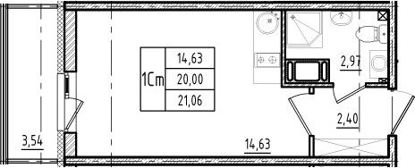 Студия, 20 м², 7 этаж