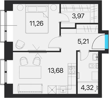 1-к.кв, 38.44 м²
