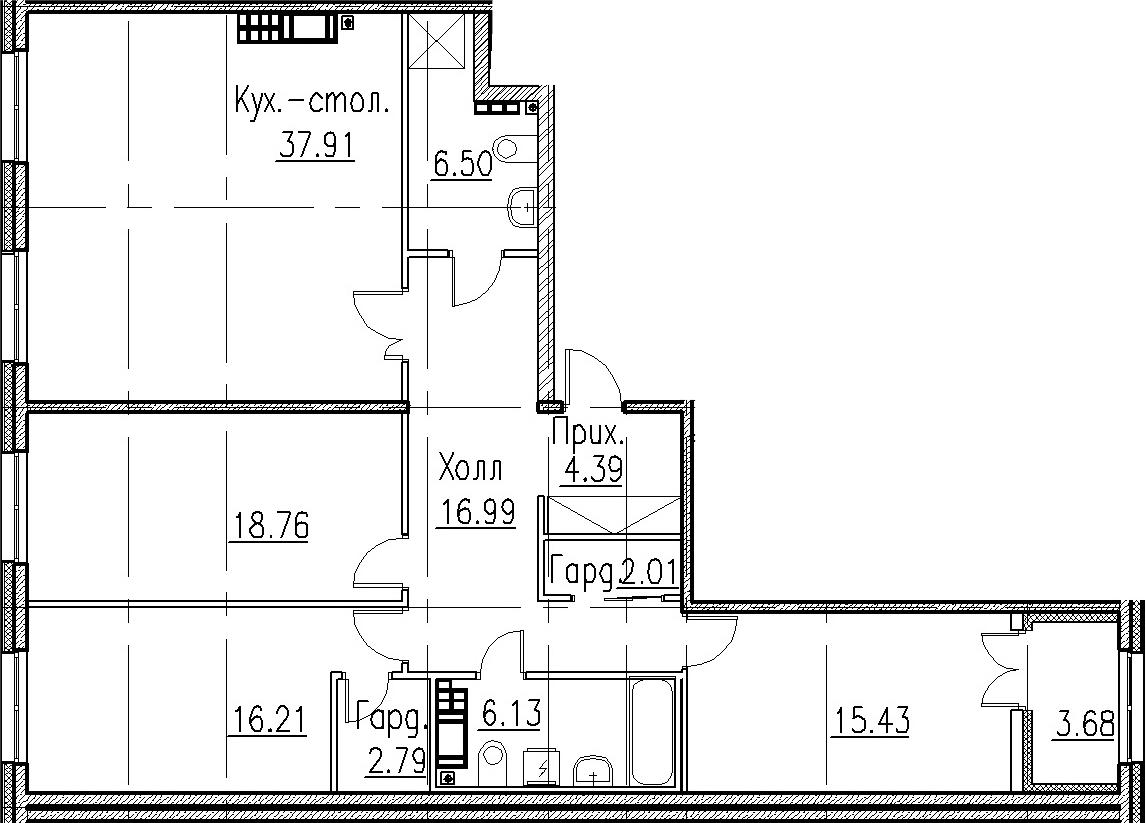 4Е-комнатная, 128.8 м²– 2