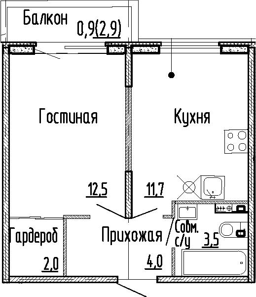 1-к.кв, 33.7 м², 1 этаж