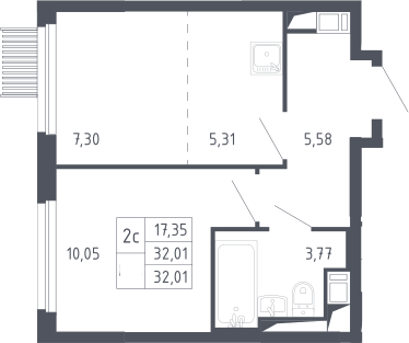 2Е-к.кв, 32.01 м²