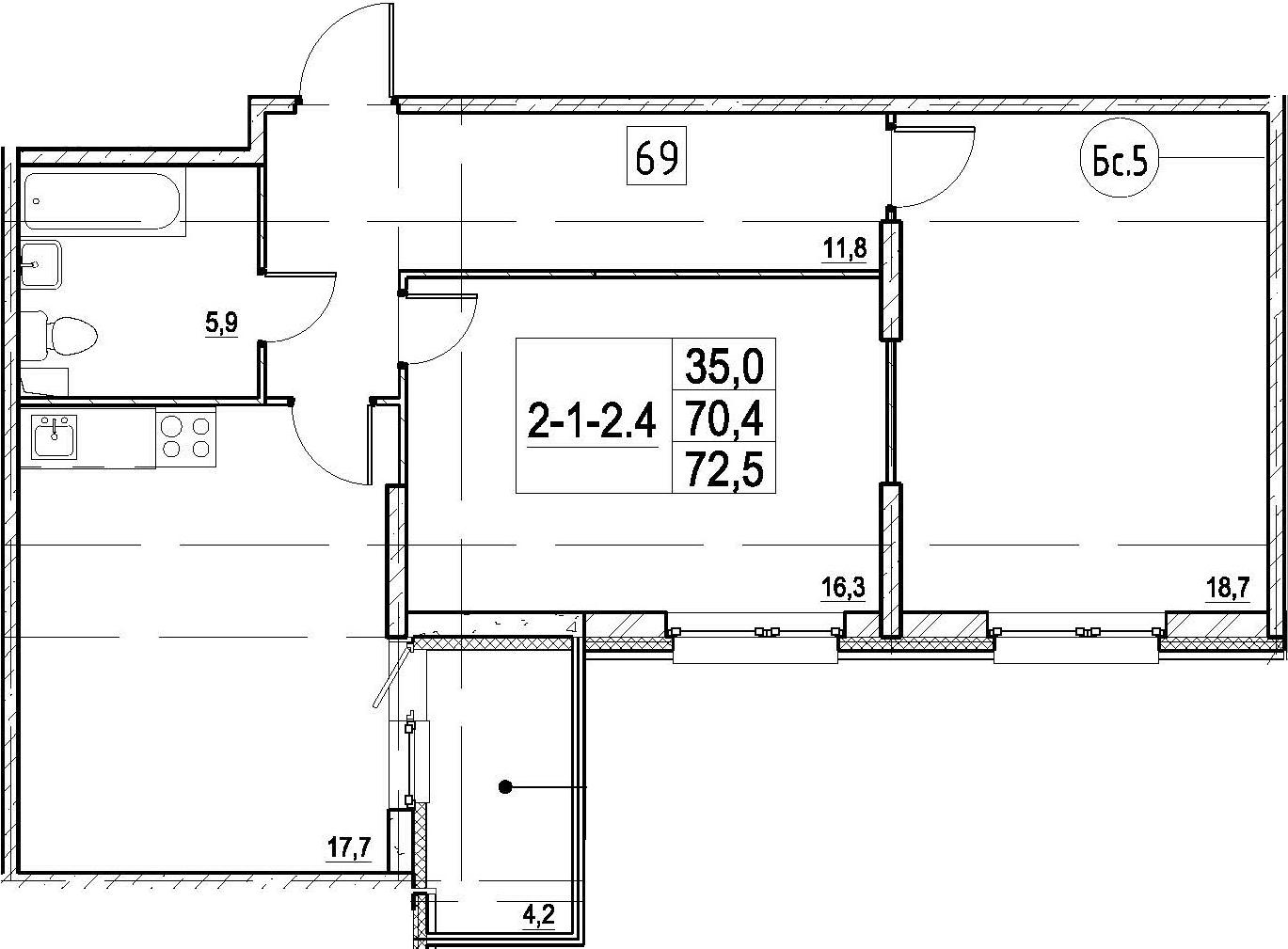 3Е-к.кв, 72.5 м², 1 этаж