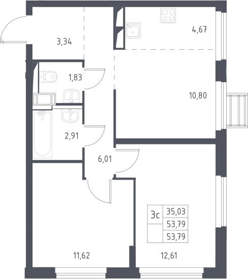 3Е-к.кв, 53.79 м²