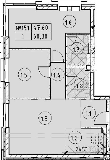 3Е-к.кв, 68.38 м²