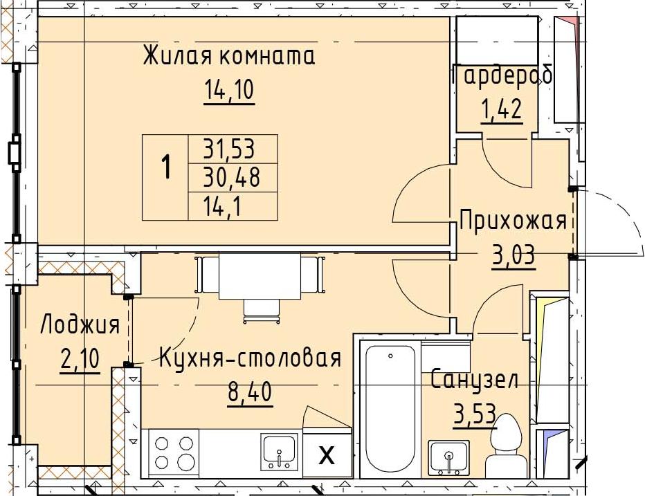 1-к.кв, 31.55 м²