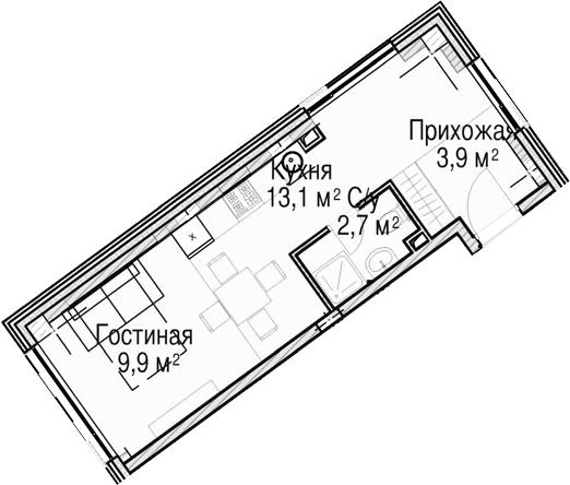 Студия, 29.6 м²– 2