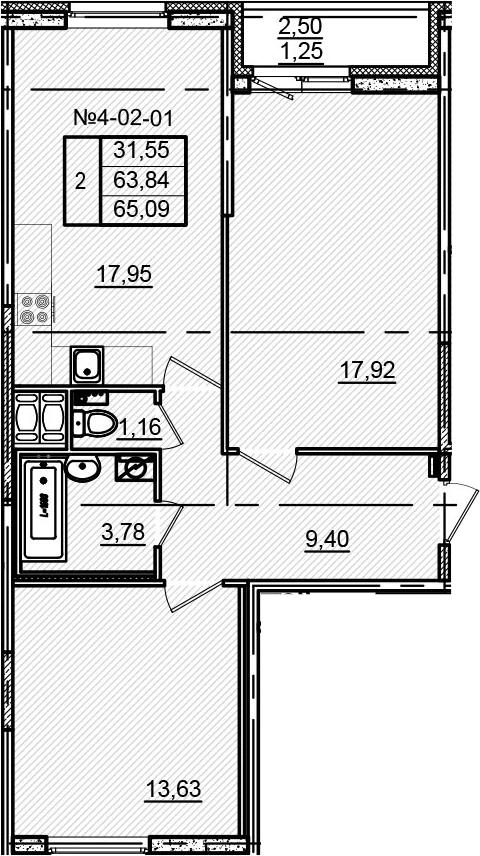 3-к.кв (евро), 66.34 м²