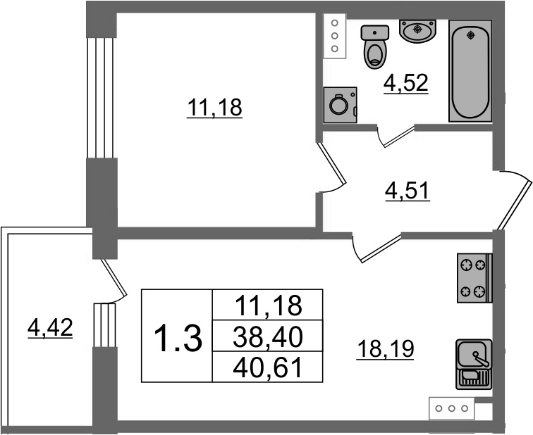 2Е-к.кв, 38.4 м²