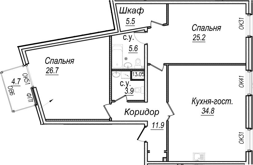 3Е-к.кв, 115 м²