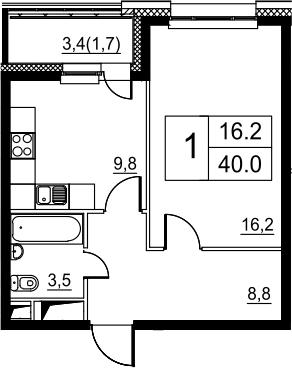 1-к.кв, 40 м²