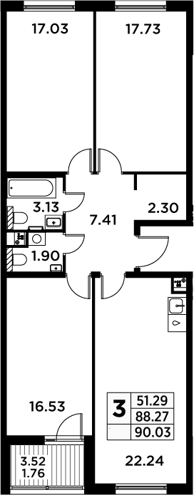 4Е-к.кв, 90.03 м²