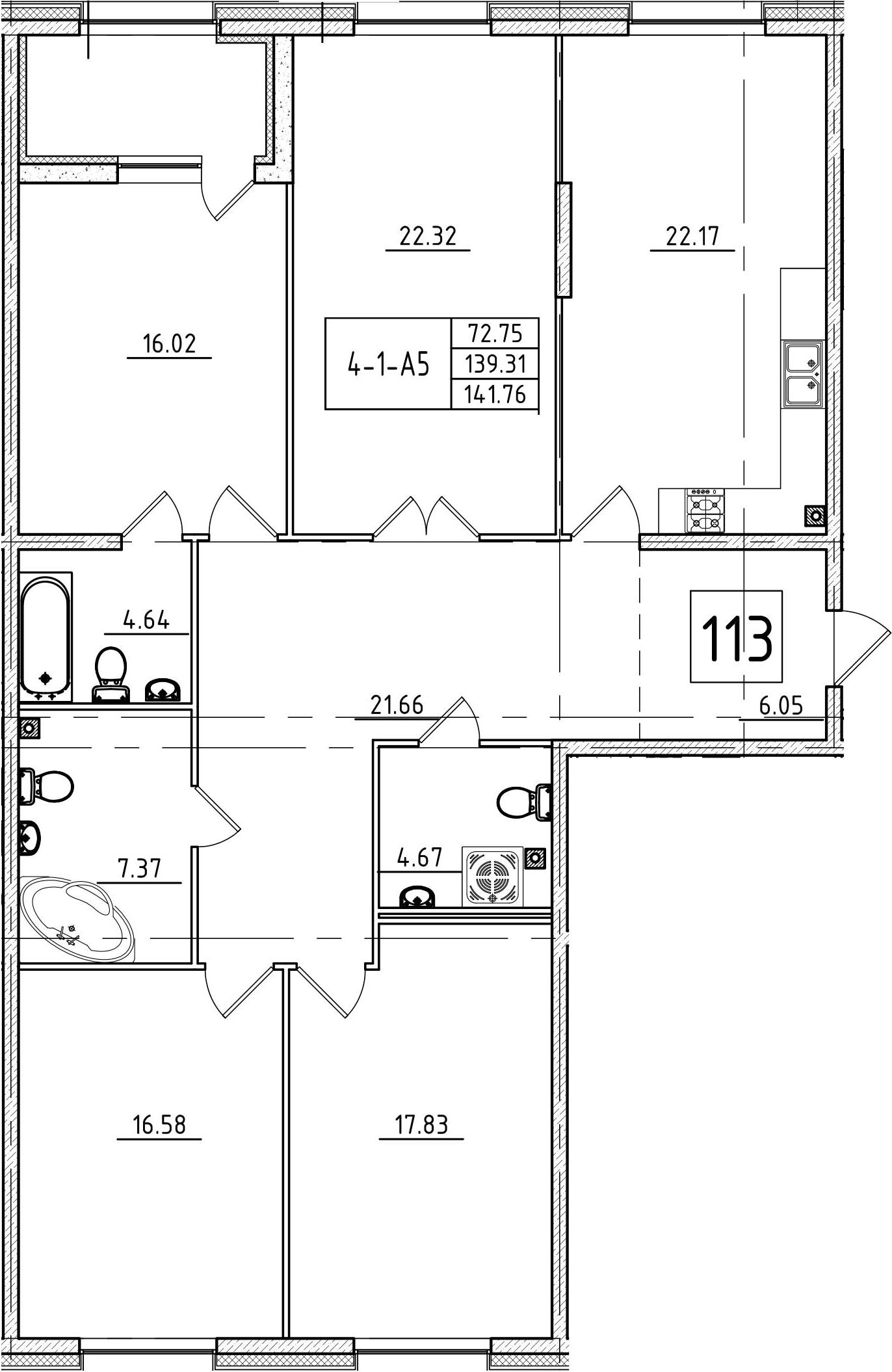 5Е-к.кв, 141.76 м²