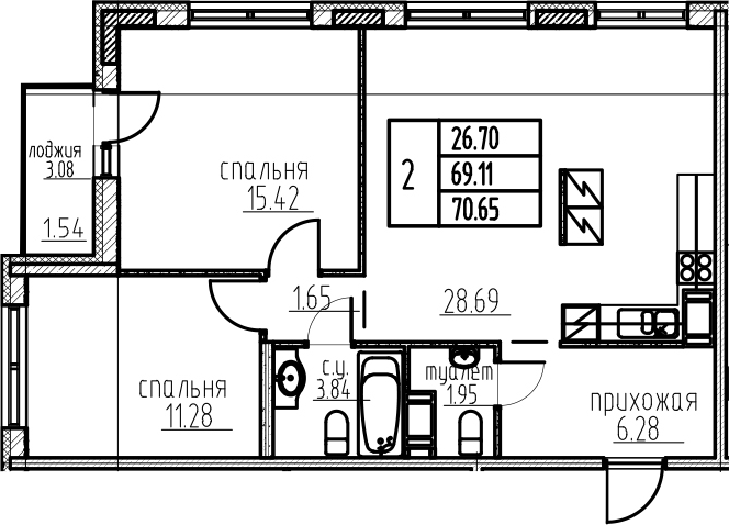 3Е-к.кв, 70.65 м²