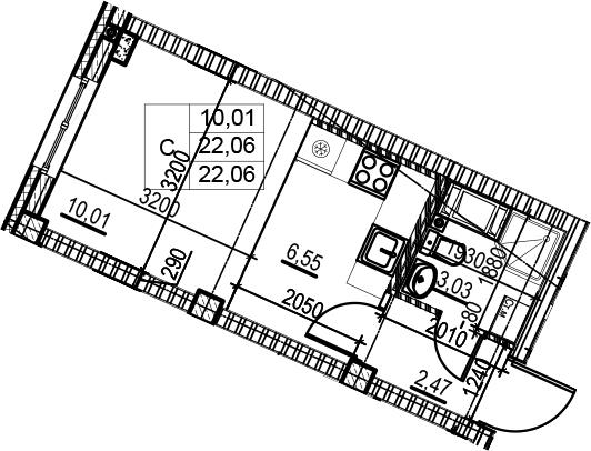 Студия, 22.06 м²