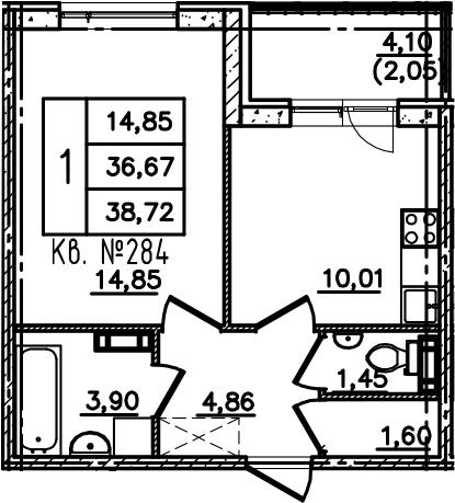 1-комнатная, 38.72 м²– 2
