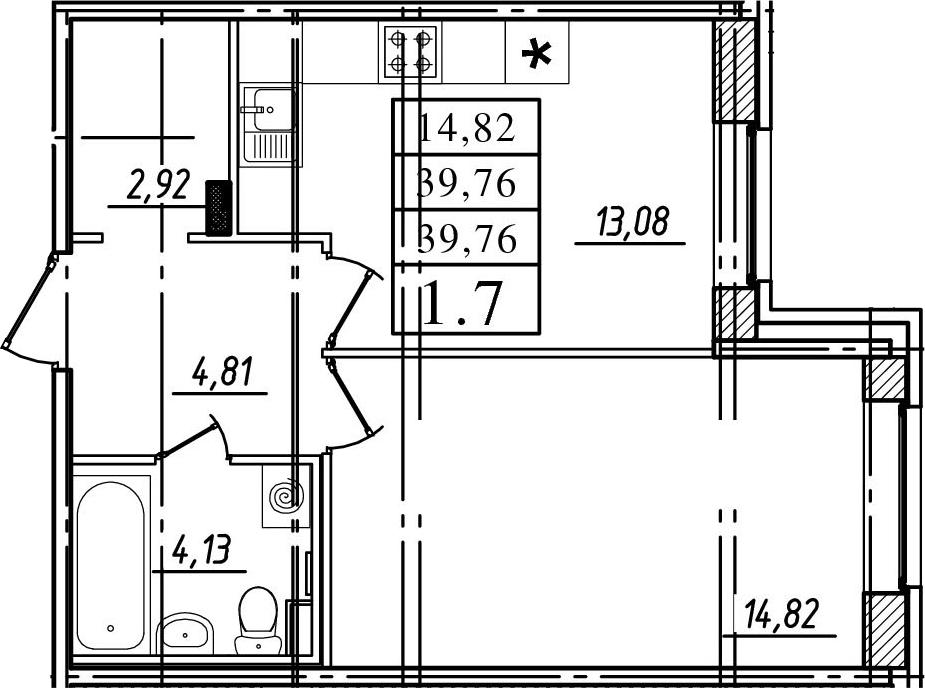 1-к.кв, 39.76 м², 1 этаж