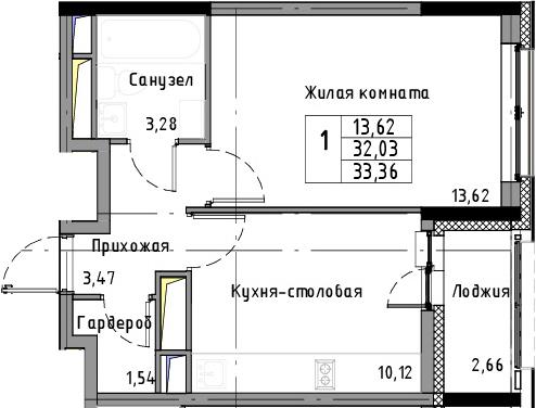 1-к.кв, 33.36 м², 8 этаж