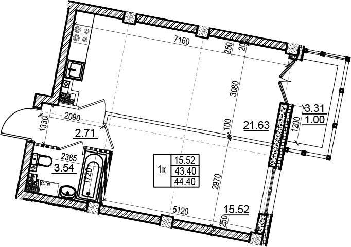 1-к.кв, 44.4 м², 6 этаж