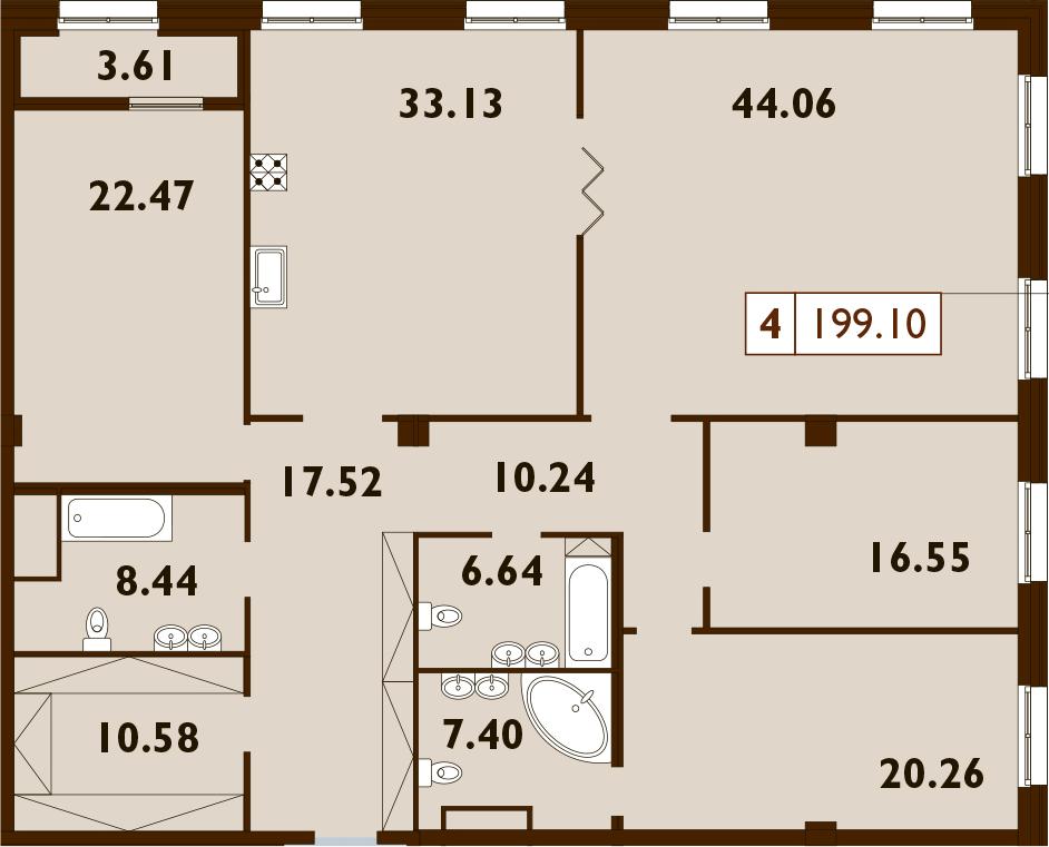 5Е-к.кв, 199.1 м²