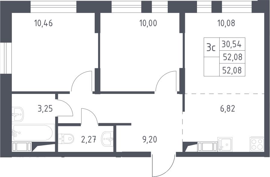 3Е-комнатная, 52.08 м²– 2