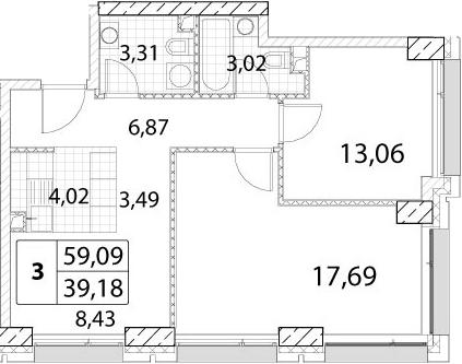3-к.кв (евро), 59.09 м²