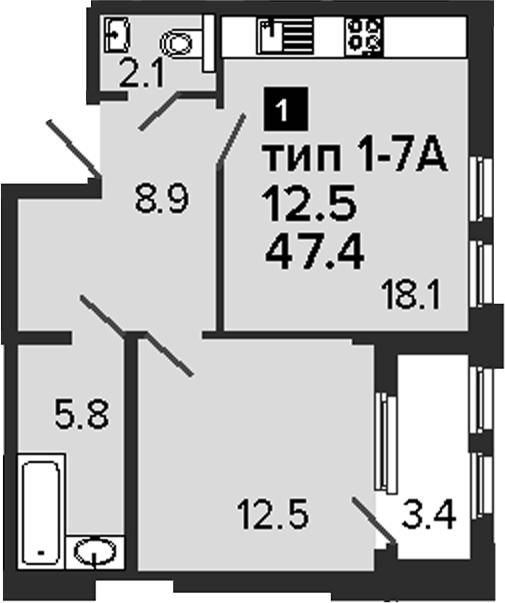 1-комнатная, 47.4 м²– 2