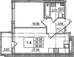 2Е-комнатная, 36.69 м²– 2