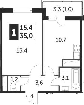 1-к.кв, 34.4 м², от 10 этажа