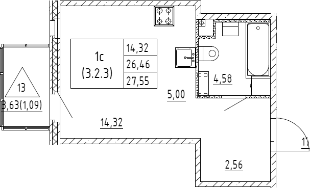 Студия, 27.55 м²