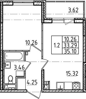 2Е-к.кв, 35.1 м²