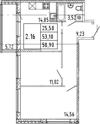 3Е-комнатная квартира, 56.04 м², 14 этаж – Планировка