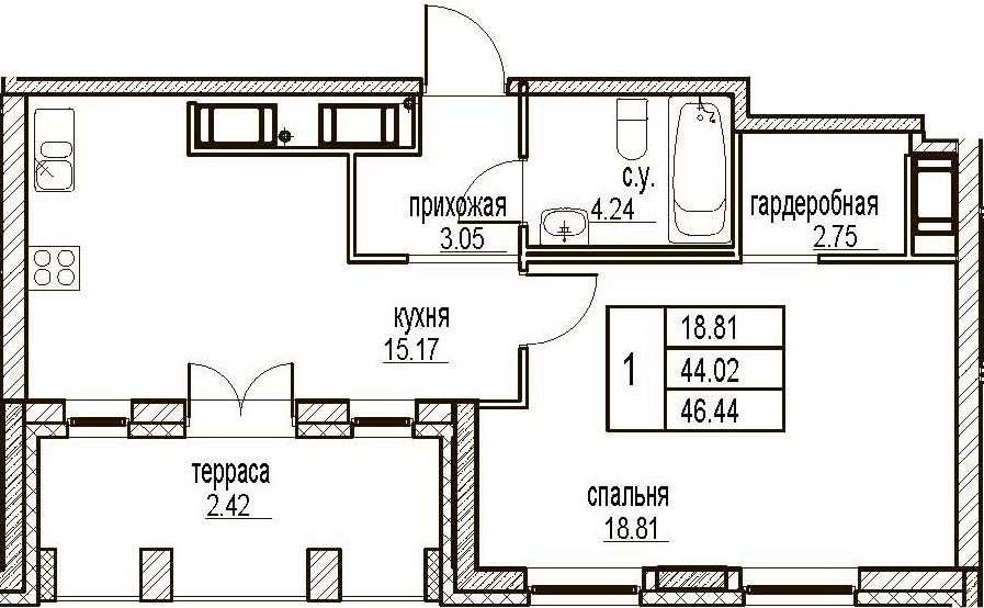 1-комнатная, 46.44 м²– 2