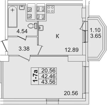 1-комнатная, 43.56 м²– 2