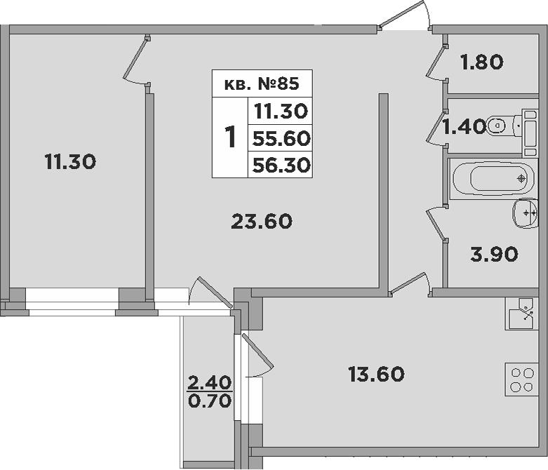1-к.кв, 58 м²