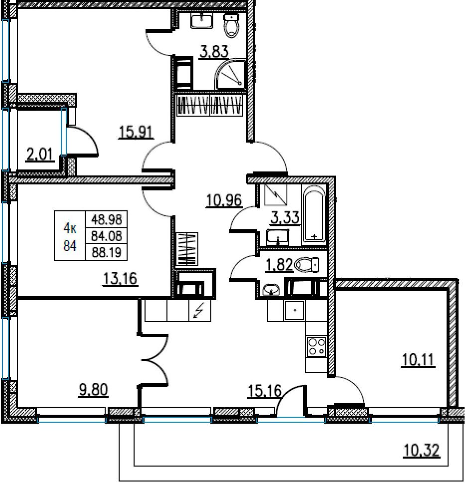 5Е-комнатная, 88.19 м²– 2