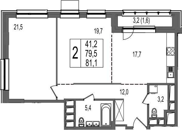 2-к.кв, 81.1 м²