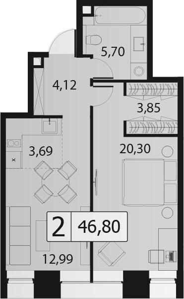 2Е-комнатная, 46.8 м²– 2
