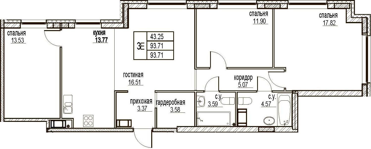 4Е-комнатная, 93.71 м²– 2