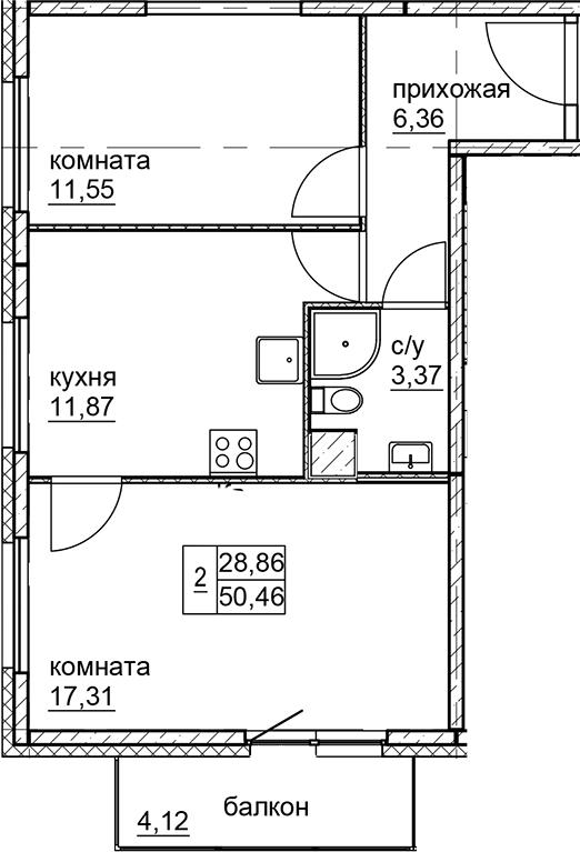 2-к.кв, 50.46 м²