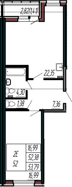 2-к.кв (евро), 55.2 м²