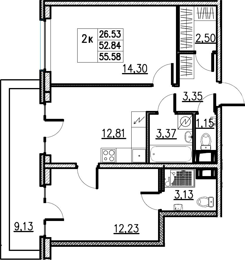 2-комнатная, 55.58 м²– 2