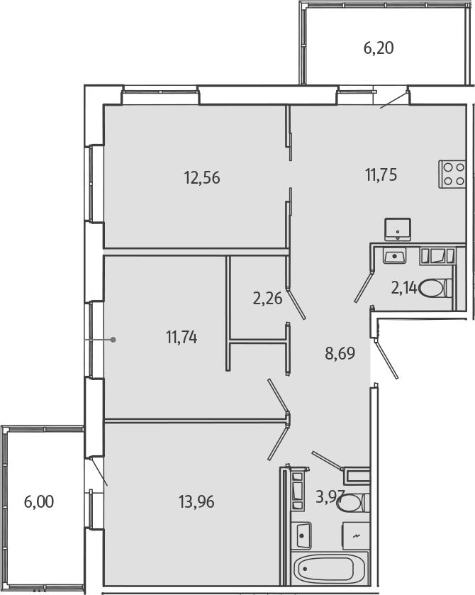 3-к.кв, 70.73 м²