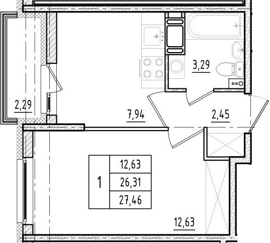 1-к.кв, 26.31 м²