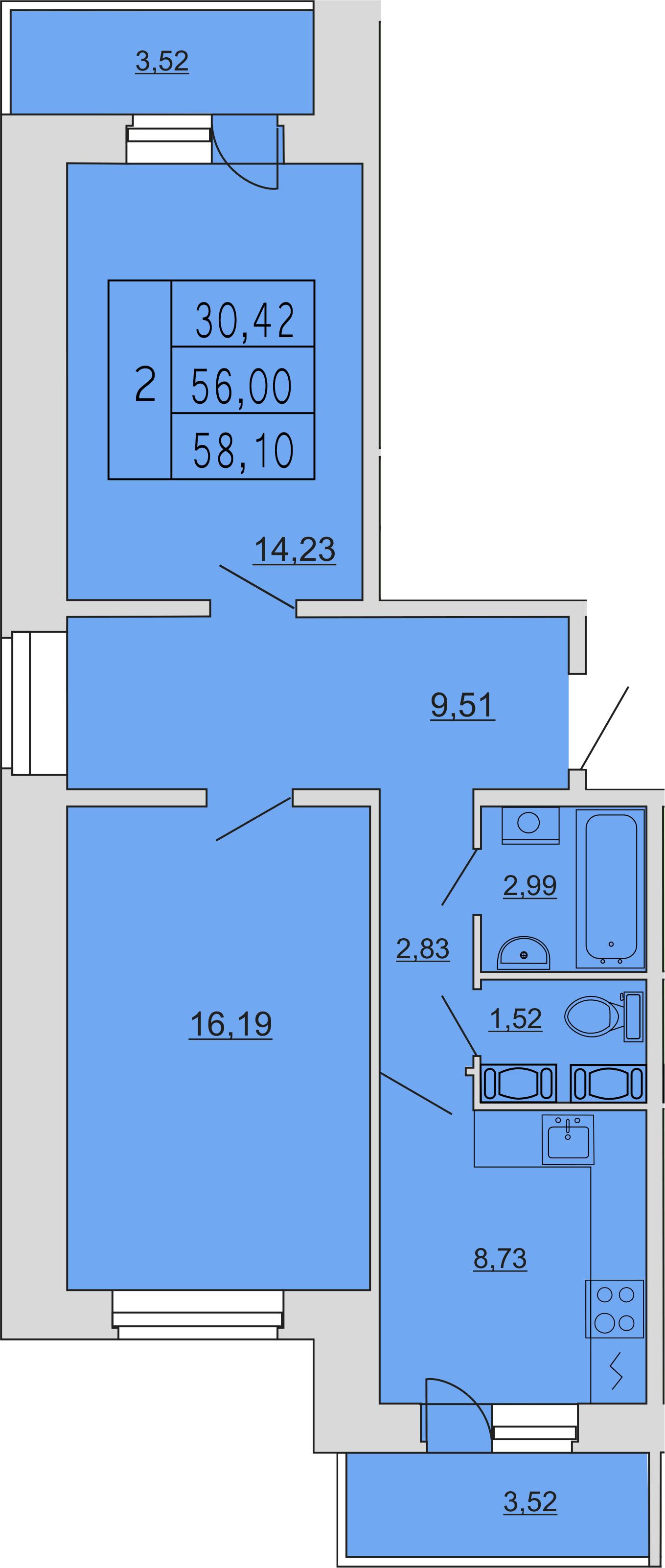 2-к.кв, 64.23 м²