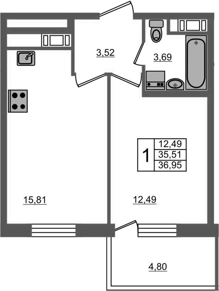 2-к.кв (евро), 40.31 м²