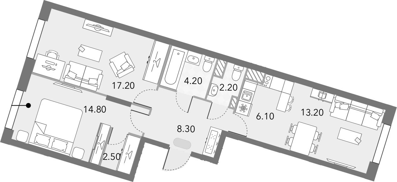 3Е-комнатная, 68.5 м²– 2