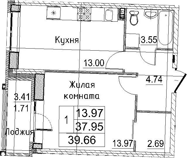 1-к.кв, 41.37 м²