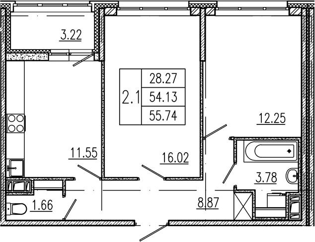 2-к.кв, 54.13 м², 3 этаж